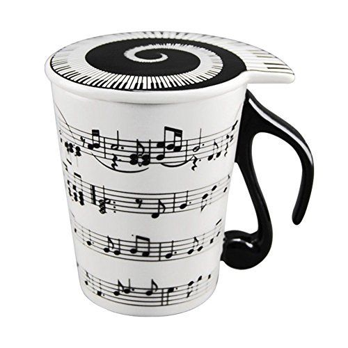 HLJgift Creative Ceramic Musician Coffee Mug Tea Cup with Lid Staves Music Notes as Valentine's Day  HLJgift Creative Ceramic Musician Coffee Mug Tea Cup with Lid Staves Music Notes as Valentine's Day  Expires Jul 24 2017