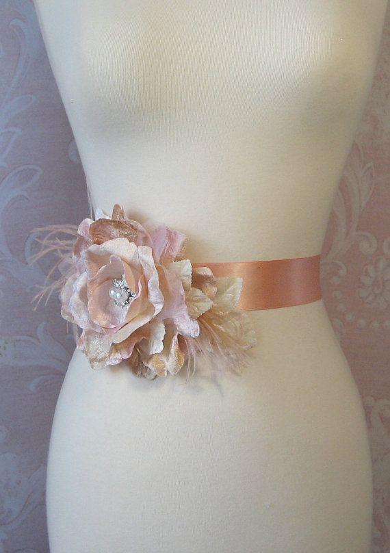 Peach Sash Peach Bridal Sash Wedding Belt