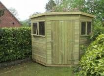 Our corner sheds are built with FSC approved tanalised treated timber and come in a range of sizes with a choice of roofing materials.