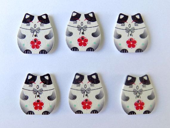 6 Black Plutus Cat Buttons - 2 Holes - Quilting Buttons - Sewing Buttons - Embellishments - #SB - 00142