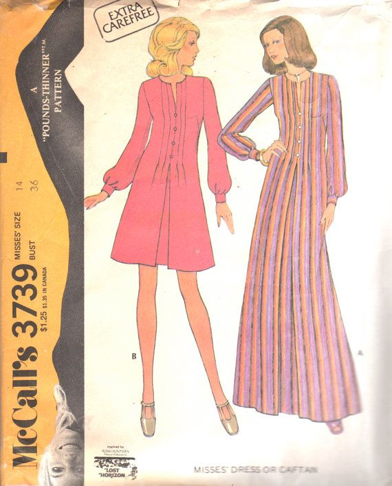 McCalls 3739 1970s Womens Tucked Dress or Caftan Pattern by mbchills