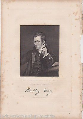 SIR HUMPHRY DAVY BARONET CHEMIST ANTIQUE SIGNATURE ENGRAVING PRINT 1835