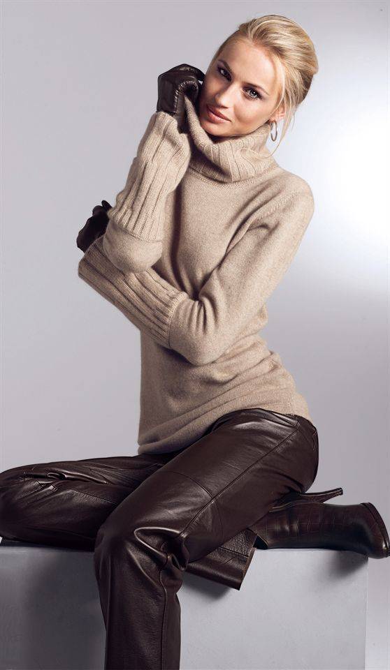 Brown leather trousers and knit pullover