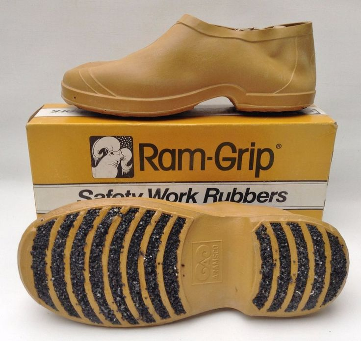 NEW Ram-Grip Safety Work Rubbers - Over Shoes, SMALL, GRIT SOLE Prevents Slips #ARAMSCO #WorkSafety