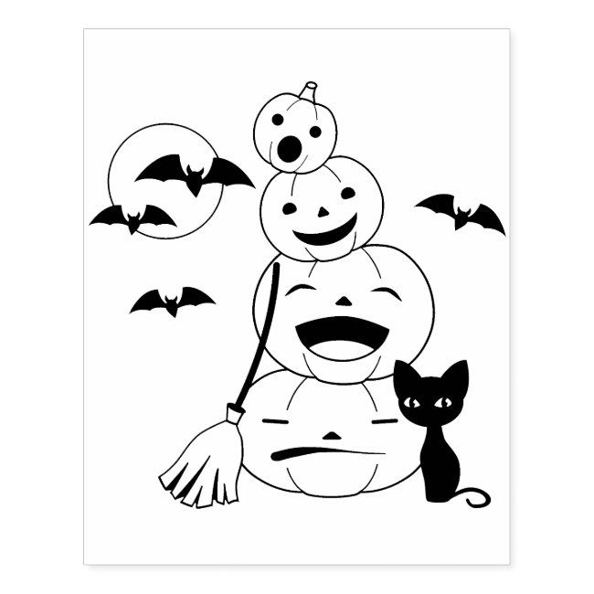 Halloween Black Cat And Pumpkins Coloring Page Rubber Stamp Zazzle Com Halloween Coloring Book Free Halloween Coloring Pages Halloween Coloring Pages Printable