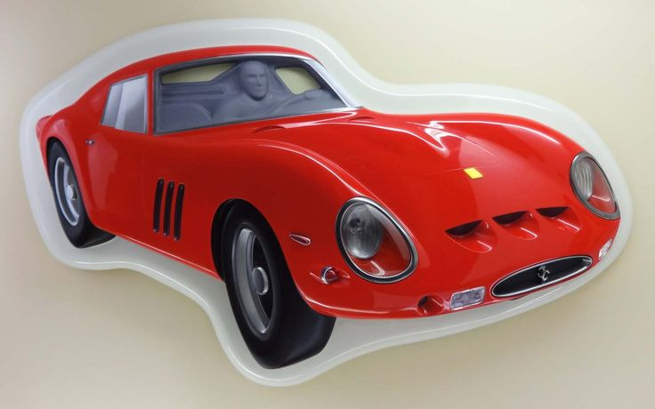 Ferrari GTO 250 - Wall Sculpture by Charlie Thompson. Combines 2D perspective and 3D form to create the illusion of depth.