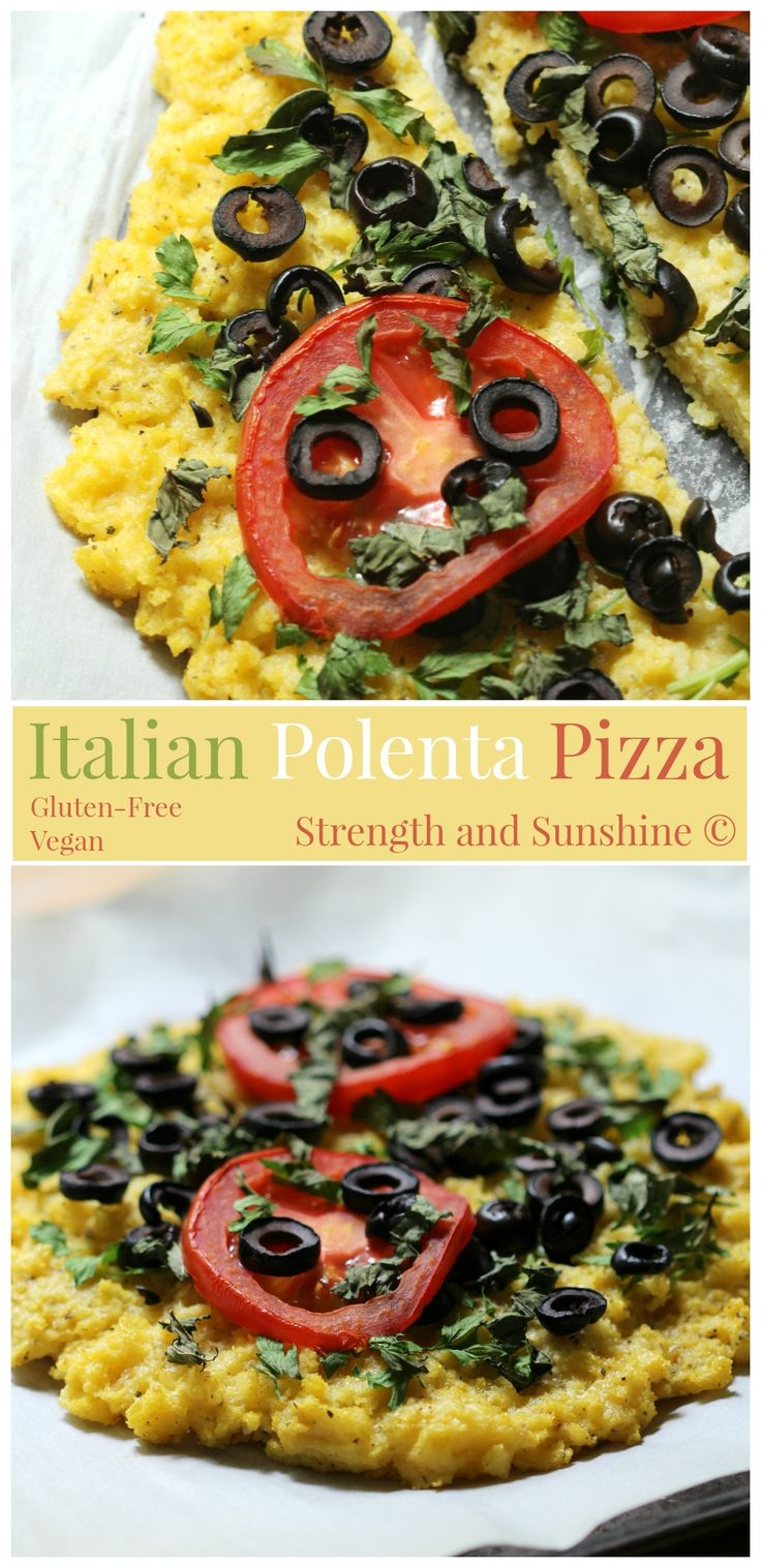 Italian Polenta Pizza | Strength and Sunshine @RebeccaGF666  A simple polenta crust pizza topped with fresh basil, parsley, sliced black olives and ripe red tomato. An Italian classic made gluten-free and vegan without missing one hint of flavor! #CalOlivesMedRecipe #sponsored