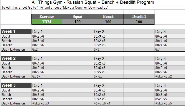 Russian Squat Routine Spreadsheet Calculator *Update ...