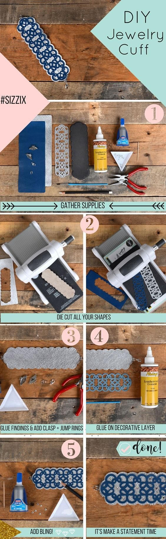 DIY Leather Cuff- What happens when you combine Jill Mackay's brand new Open Work Bracelet die with our new Sizzix Leather? You get a gorgeously intricate bracelet. The best part about this is that you can get the same look in just a few steps.