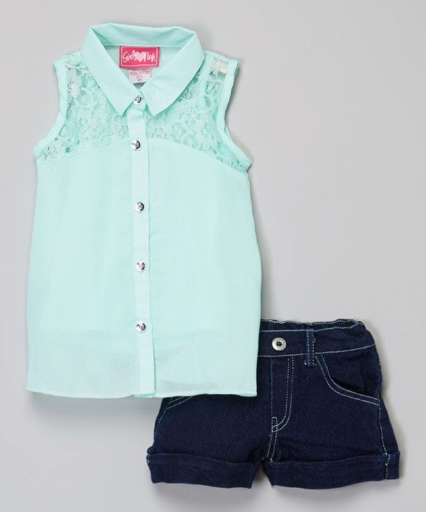 Look at this Mint Lace Button-Up & Denim Shorts - Toddler & Girls on #zulily today!