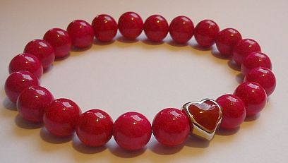 'Burning love'-Cyclamen marble bracelet with heart metal pearl  Availabe: http://www.meska.hu/ProductView/index/1239247