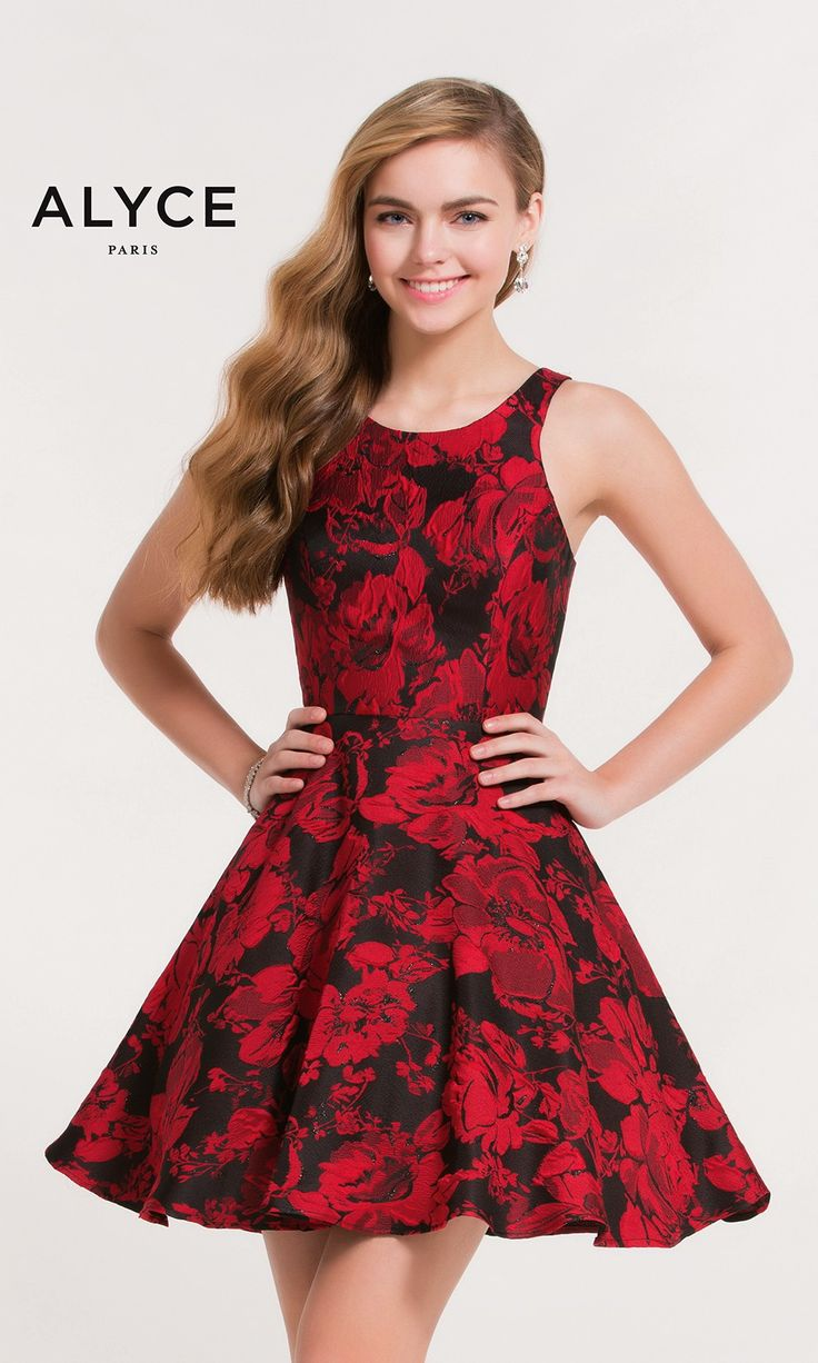 Short Evening Dresses Homecoming Dresses by ALYCE PARIS<BR>aay3711<BR>Short skater brocade dress with scoop neckline and an open keyhole back.