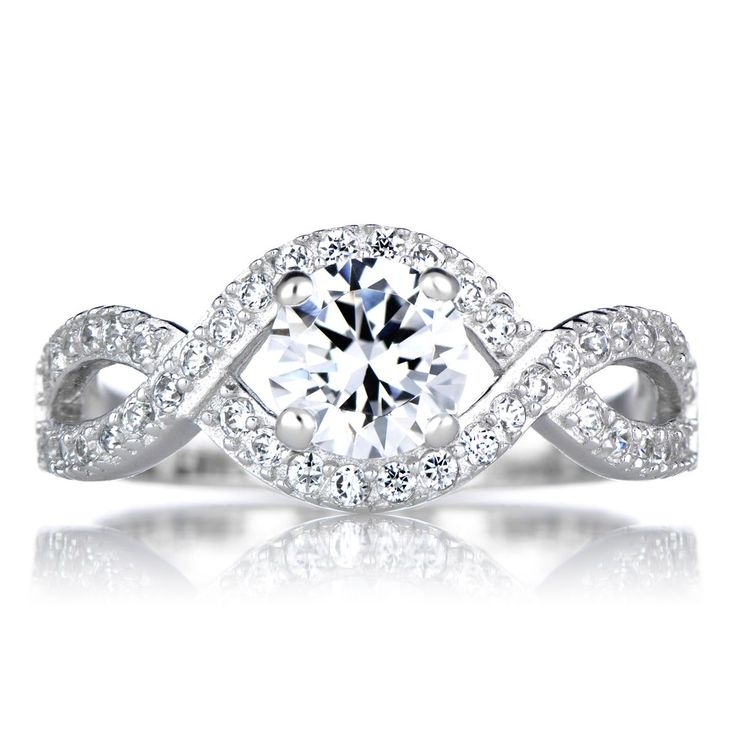 Sterling Round Cut Twisted Cubic Zirconia Engagement Ring
