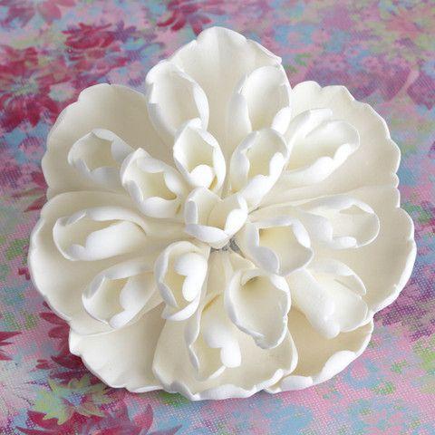 "4"" White Heirloom Peonies Sugarflower perfect as a cake topper for fondant cakes. | CaljavaOnline.com #caljava #sugarflower"