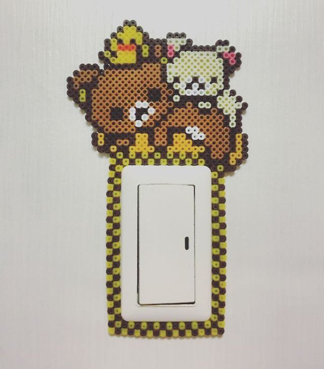 Rilakkuma light switch frame perler beads by lim_factory