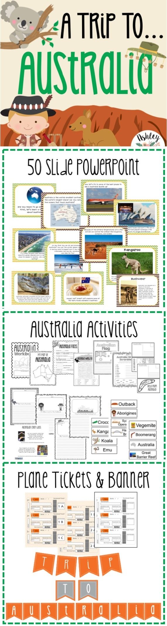 Take your students on a Trip to Australia! Includes Australia activities and an Australia Power Point. They will love it!
