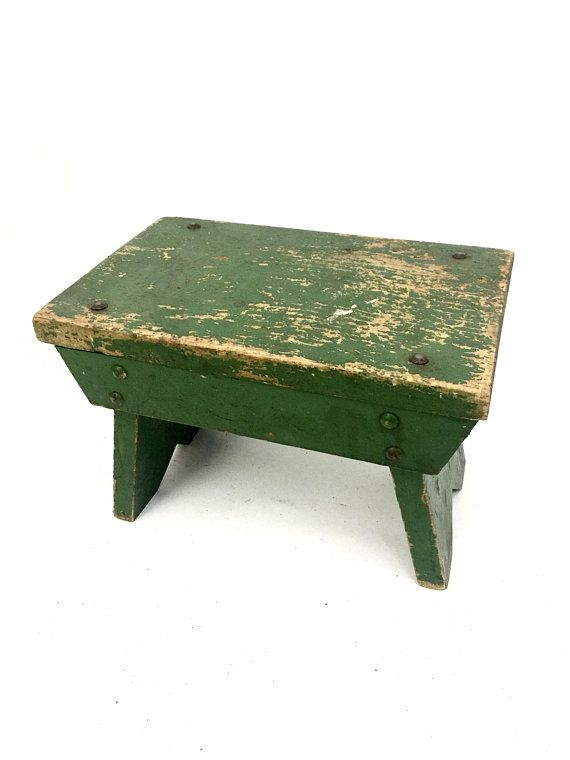 Brilliant Antique Foot Stool Small Green Wood Vintage Footstool Squirreltailoven Fun Painted Chair Ideas Images Squirreltailovenorg