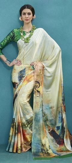 4387acf5d375a7 764916 Multicolor color family Silk Sarees in Satin Silk fabric with Printed  work with matching unstitched blouse.
