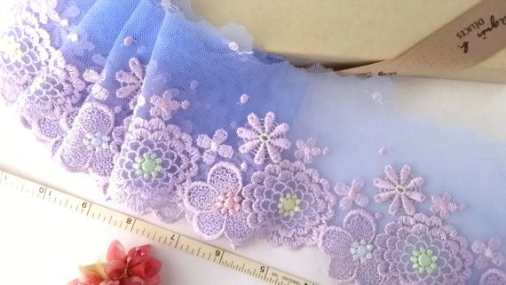 Embroidered lace Blue lace Tulle lace Floral lace by laceville