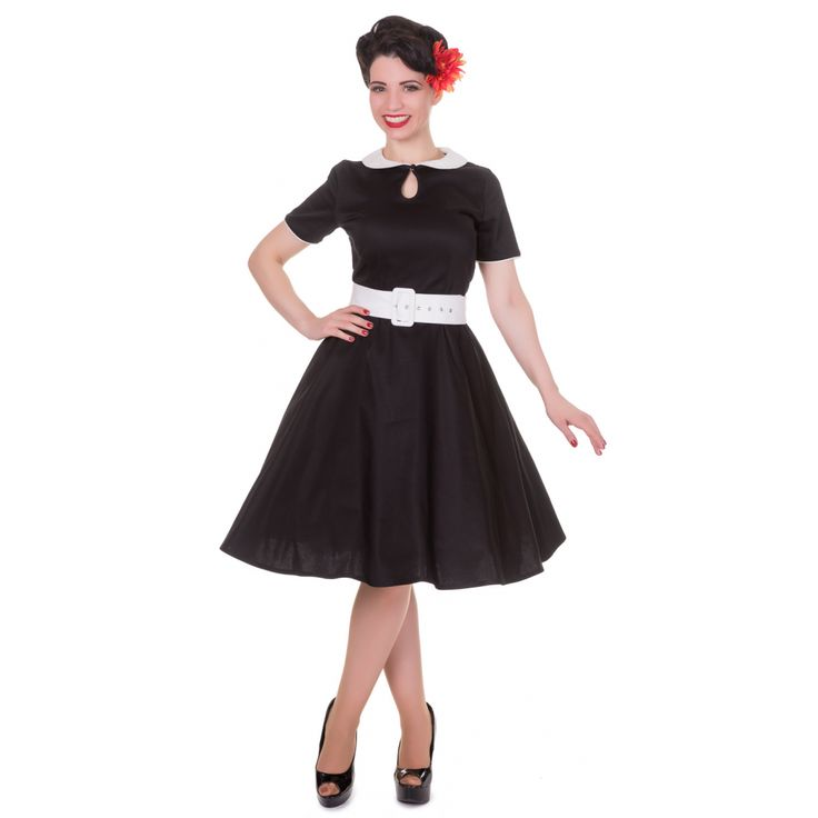 Evelyn Retro 50's Style Swing Dress in Black/White