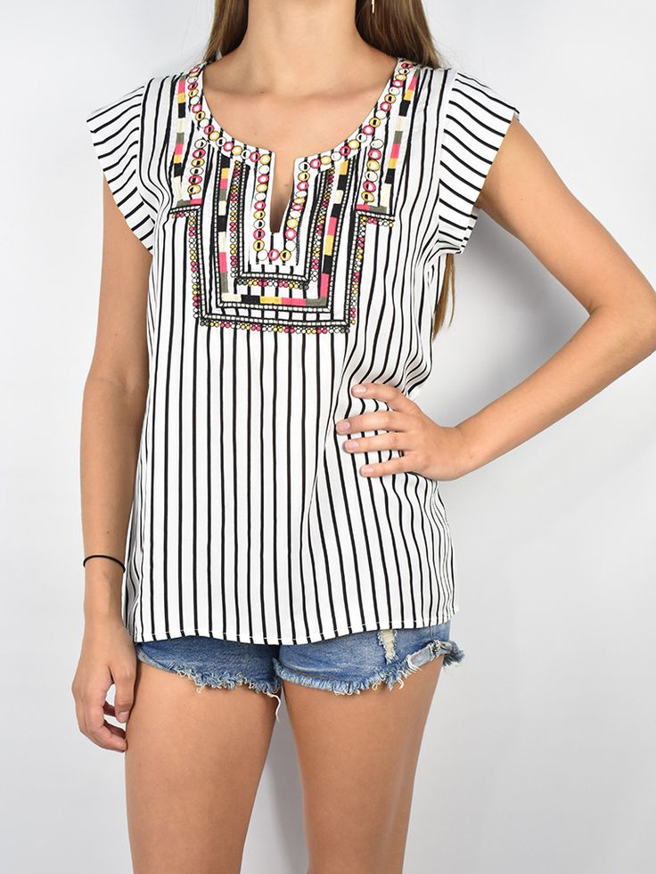 Stripe Short Sleeve Top W/ Embroidery