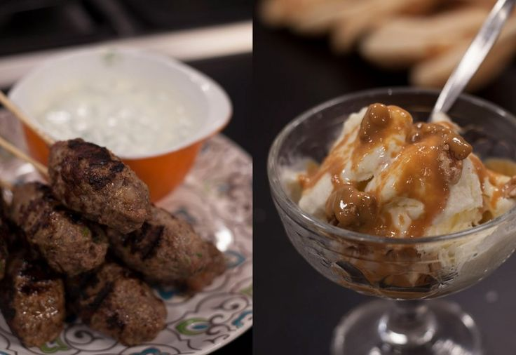 Lamb Koftas with Yoghurt Dressing & Salted Caramel Ice Cream Sauce