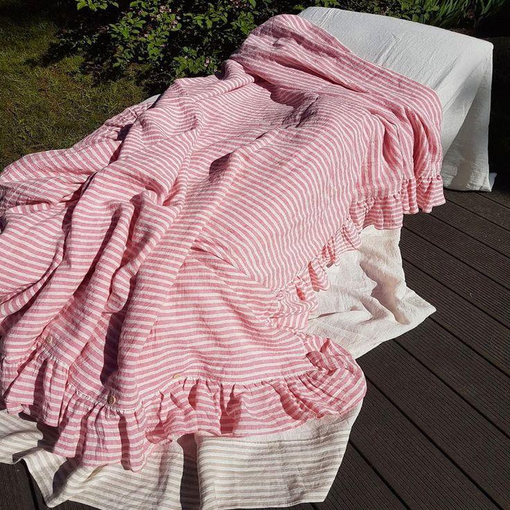 Ruffle duvet cover - striped pink duvet cover - pink linen shabby chic duvet, doona cover - Queen Cal King duvet cover, romantic bedding by DejavuLinen on Etsy