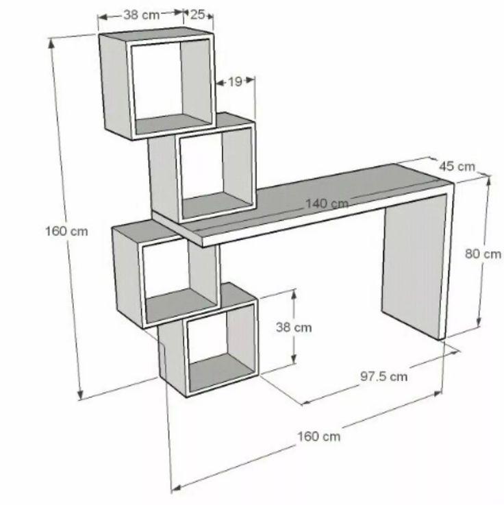 25 best ideas about desk with shelves on pinterest desk for Medidas de un escritorio