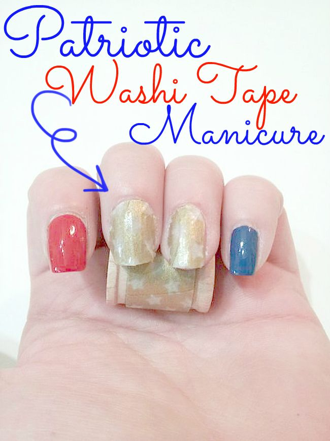 Patriotic Washi Tape Manicure || #washi #washitape #nails #washitapenails #washinails #diy #tutorial