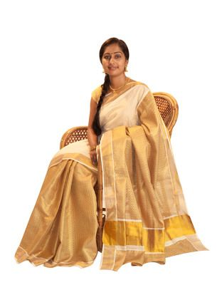 Off-white and golden cotton saree with blouse