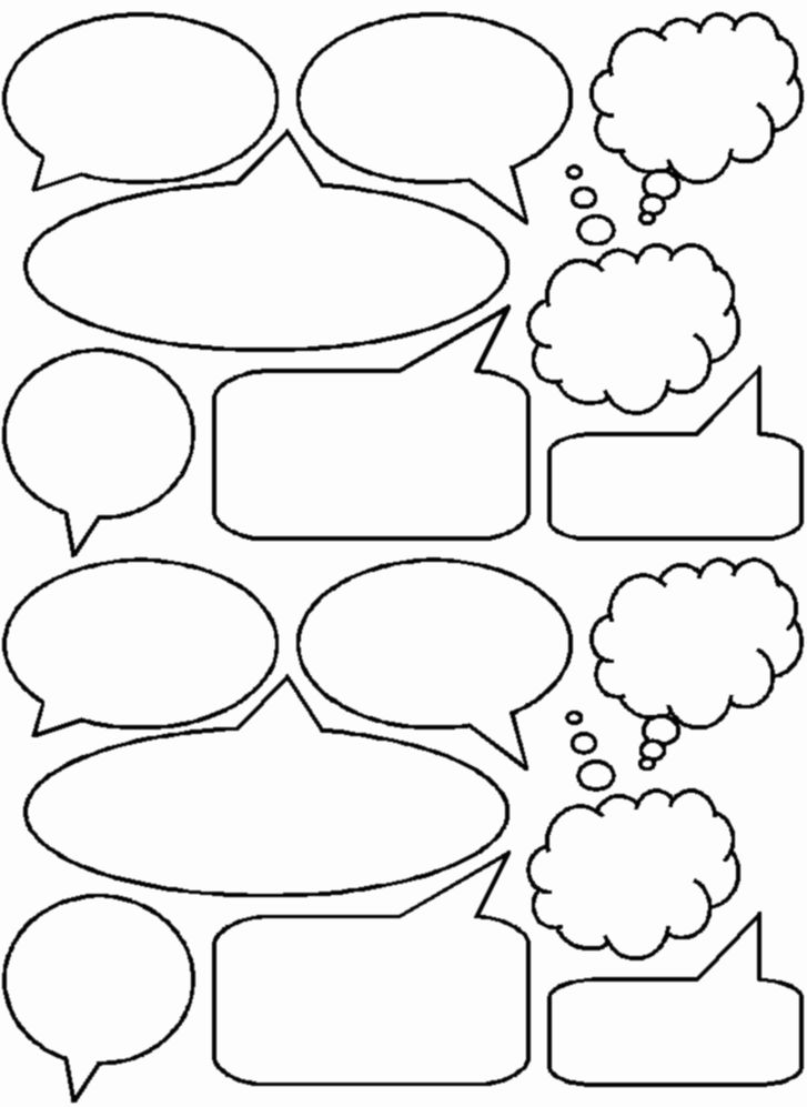 Dramatic image in printable thought bubbles