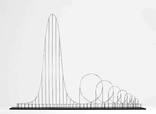 Euthanasia Coaster, by Julijonas Urbonas, is a hypothetic euthanasia machine in the form of a roller coaster, engineered to humanely – with elegance and euphoria – take the life of a human being. Riding the coaster's track, the rider is subjected to a series of intensive motion elements that induce various unique experiences: from euphoria to thrill, and from tunnel vision to loss of consciousness, and, eventually, death.