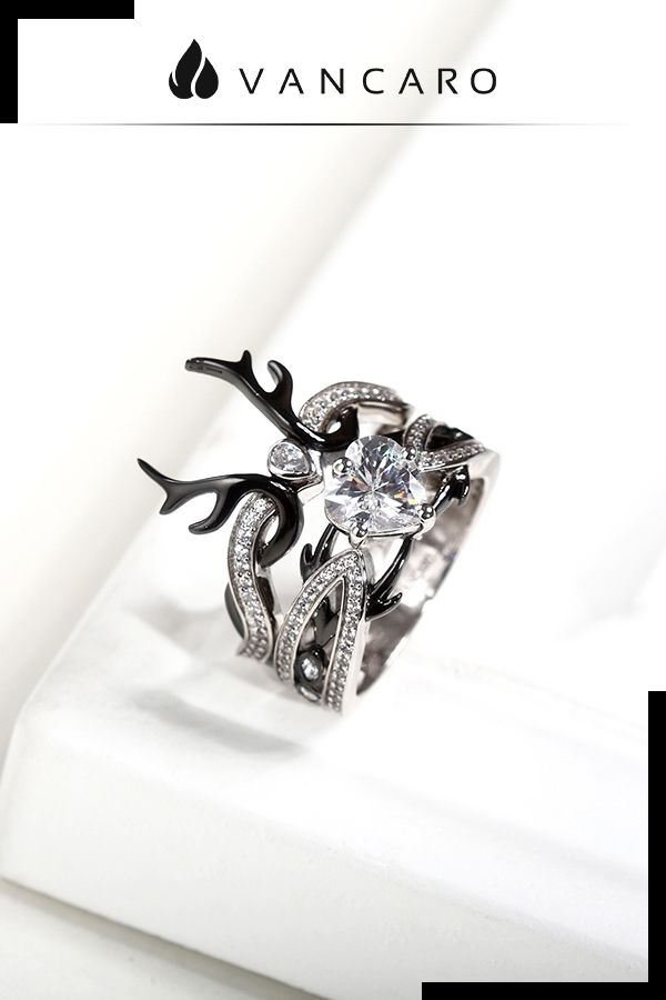 Crown Shaped Black Deer Antler Ring Set With Heart Stone Studded