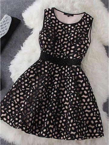 Crochet Dress in Beige and Black