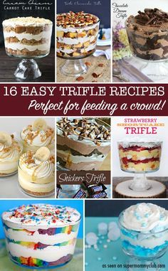 These easy trifle recipes look DELICIOUS and perfect for pot lucks and Holidays!
