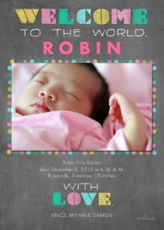Chalkboard Stenciled Welcome - Pink Photo Cards