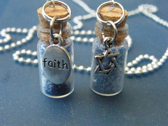 OOAK Jewish Faith Blue & White Sand Glass Vial by DaKsJewelry