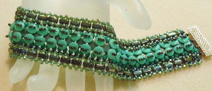 Cuff bracelet - no name yet - uses CzechMate brick and lentil beads