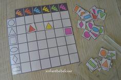 Bonjour tout le monde!! Un petit coup de cœur pour cet exercice trouvé sur le net, un exercice de logique pour apprendre les couleurs et les formes ! Vous pouvez l'imprimer et le plastifier !