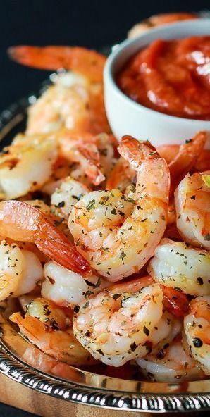 The perfect appetizer recipe for entertaining that guests will love! Herb Roasted Shrimp w/Homemade Cocktail Sauce.
