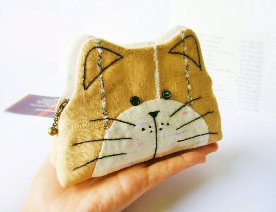 Cat purse / Cat zipper purse / Cat coin purse / Hand embroidery / Gift bag, Purse, Small bag zippered - made to order
