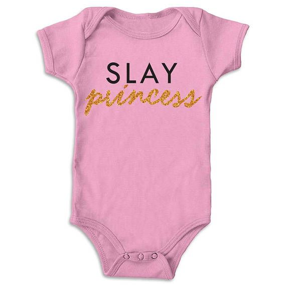This slay princess onesie is an awesome slay onesie or baby girl onesie with glitter. It is the perfect bodysuit or onesie gift for a new moms or new dads and a great baby shower gift or birthday gift. The bodysuit is available in white, black and pink   The onesie design is created with