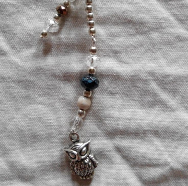 Black white beaded zipper charm . made in Ireland. by terramor on Etsy