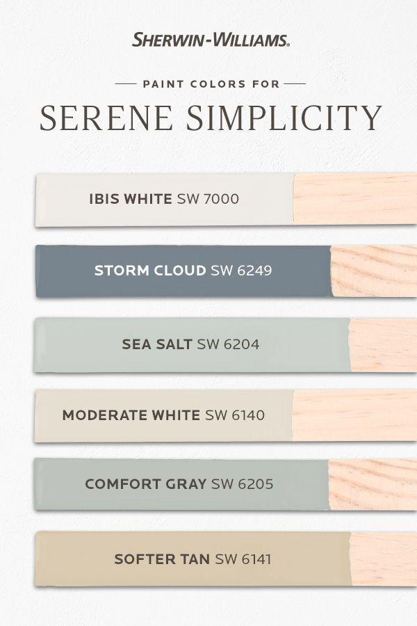 Serene Bathroom Paint Palette In 2020 Relaxing Paint Colors Paint Colors For Home Paint Color Guide