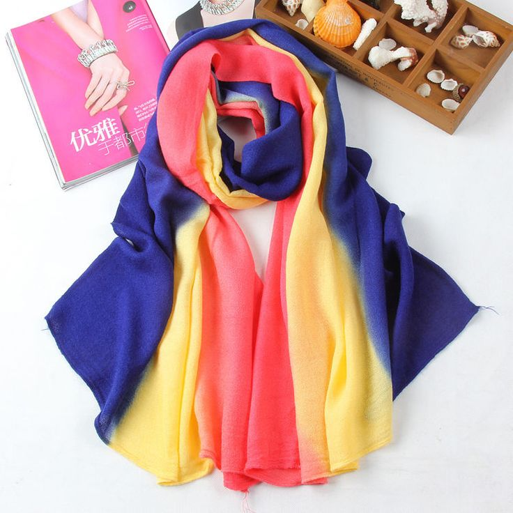 New Winter Fall Style Long Thickening Gradient Color Wool Spinning Shawl Scarf #Handmade #ShawlWrapScarf #Everyday