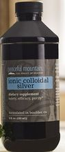 Peaceful Mountain ionic colloidal silver 6oz. dietary supplement. Liquid ionic colloidal silver supplement. Ionic Colloidal Silver Supplement facts: Elemental ...