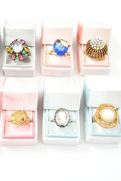 Velvet Ring Boxes! Shop our one-of-a-kind collection of vintage costume jewelry from the 1950s, 60s, 70s, 80s and 90s!