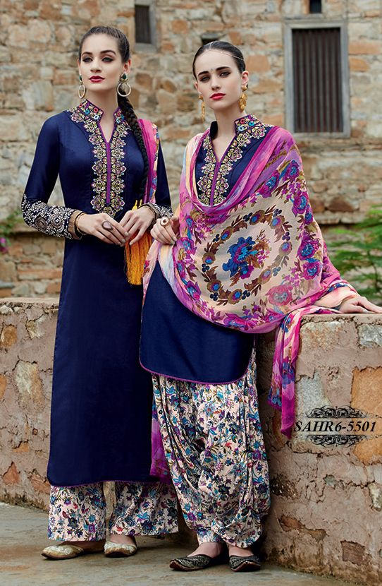 Shonaya Blue Embroidered Pure Cotton Satin Semi Stitched Salwar Suit @ 2479/-