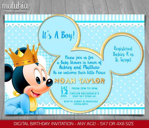 Thank You For Stopping By This Listing Is For A Personalized High Resolution Jpg Pdf D Mickey Mouse Baby Shower Mickey Baby Showers Mickey Invitations