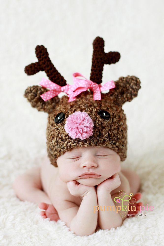 Ohhhh my word...precious!: Christmas Cards, Newborns Hats, December Baby, Photo Props, Christmas Baby, Baby Photo, Reindeer Hats, Knits Hats, Xmas Cards